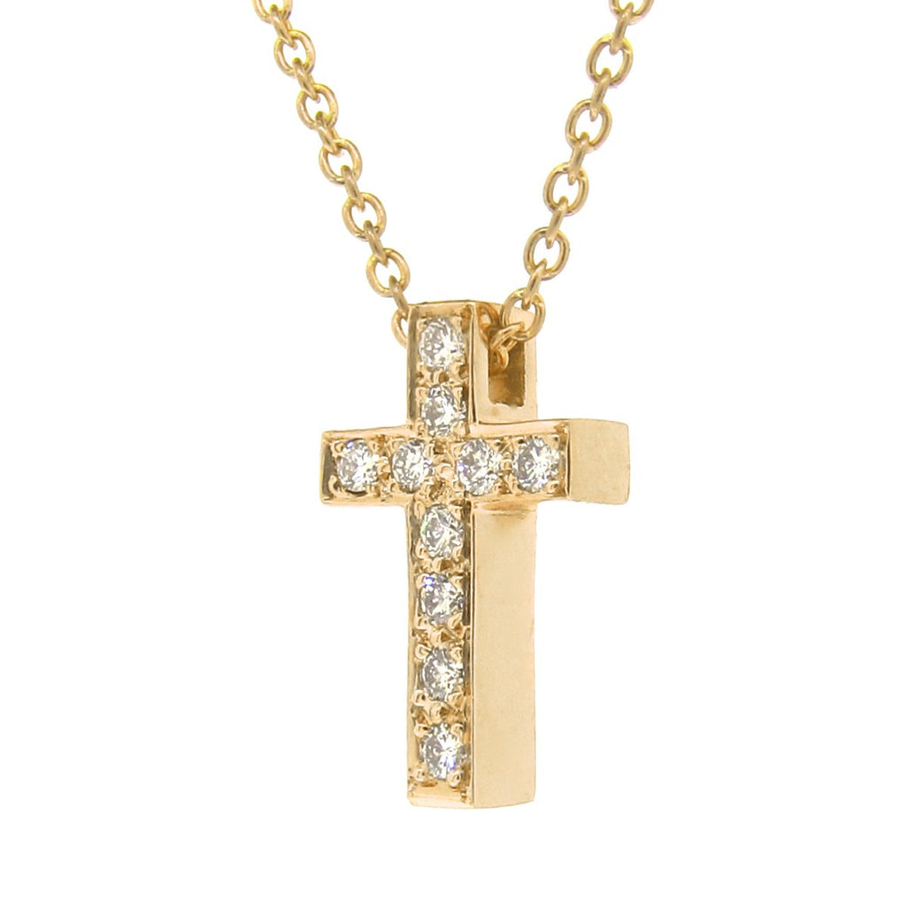 Yellow Gold Diamond Medium Cross Pendant