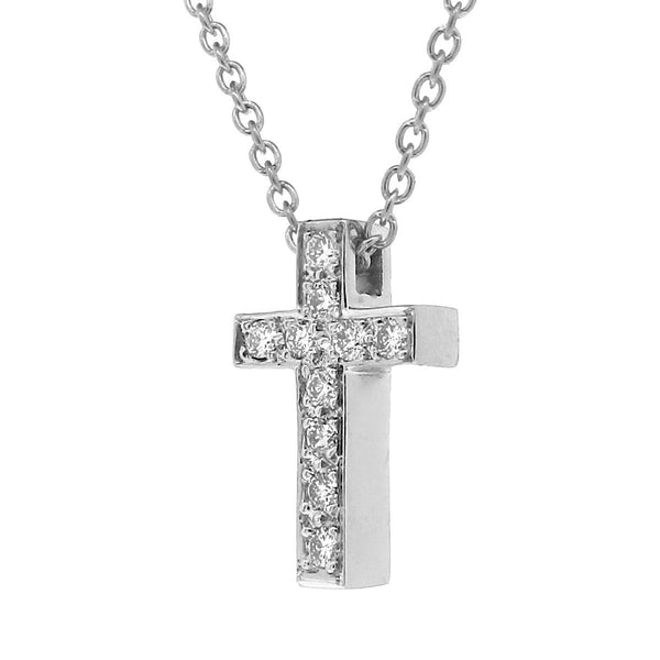 White Gold Diamond Medium Cross Pendant