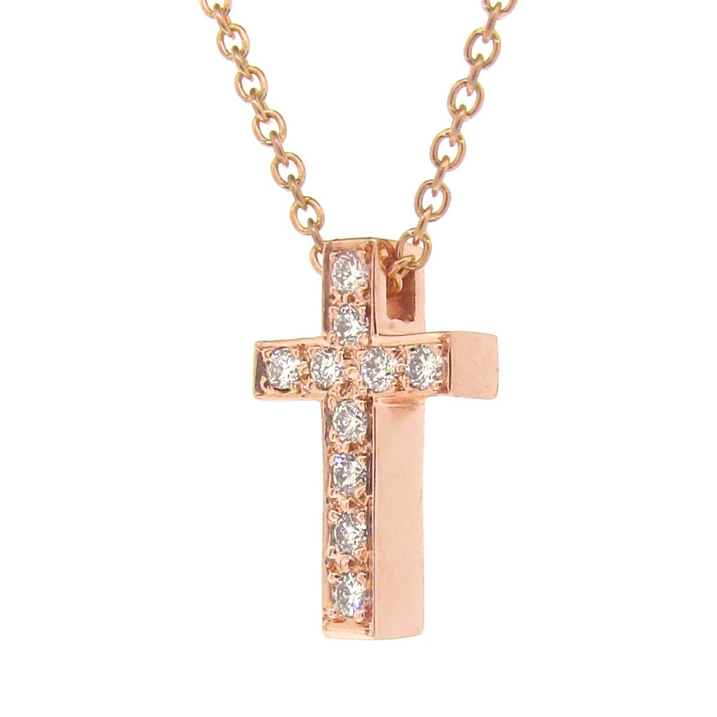 Rose Gold Diamond Medium Cross Pendant