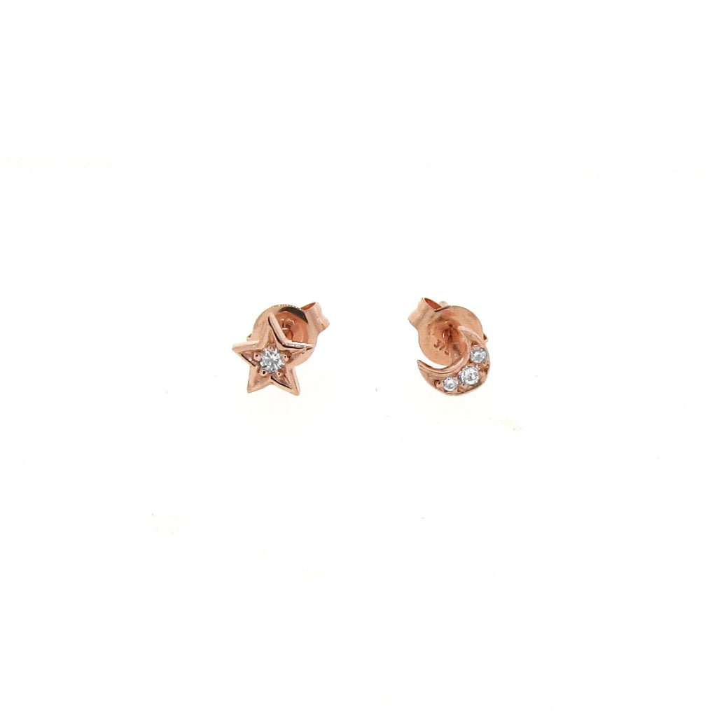 rose gold diamond mini - moon or star stud