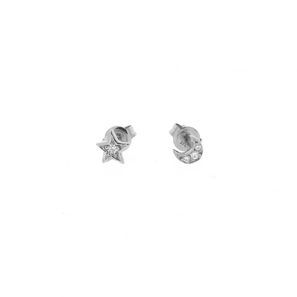 white gold diamond mini - moon or star stud