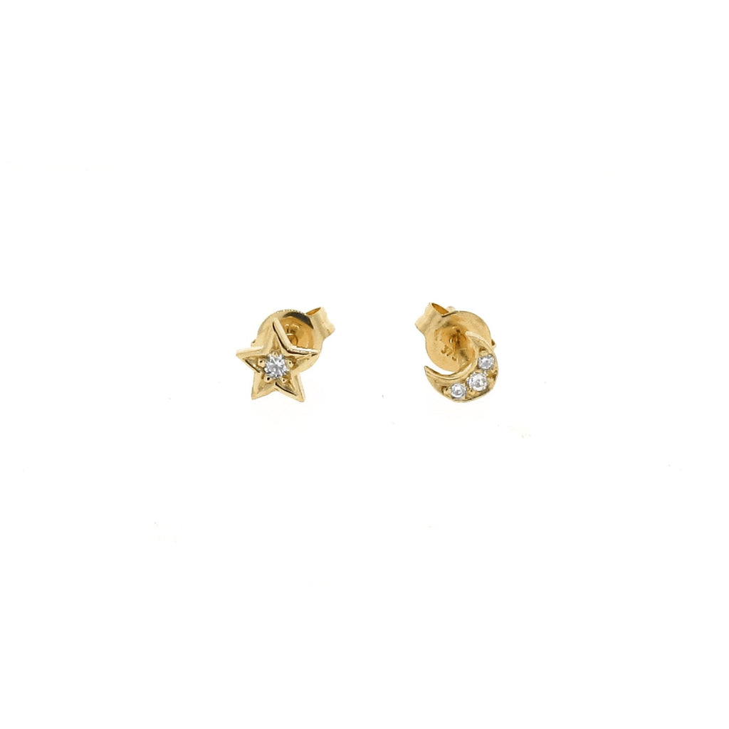 yellow gold diamond mini - moon or star stud