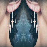 rose gold pendulum thread through earrings