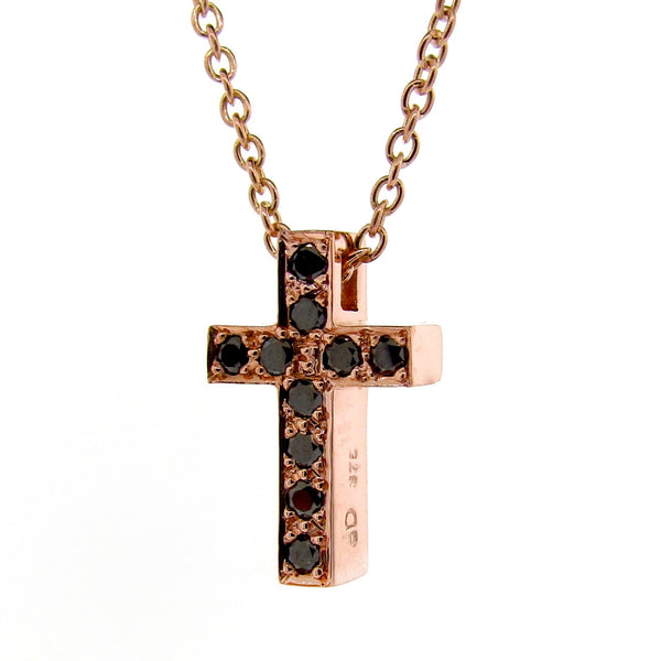 Rose Gold Black Diamond Medium Cross Pendant
