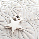 Sterling Silver Black Sapphire Baby Star Pendant or Necklace