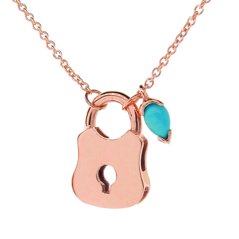 Rose Gold and Turquoise Locket Necklace