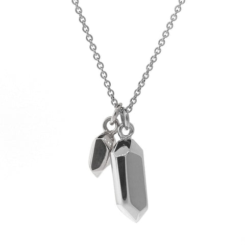 Sterling Silver Duo Crystal Necklace