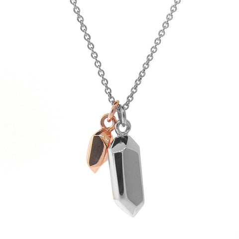 Sterling Silver & Rose Gold Duo Crystal Necklace