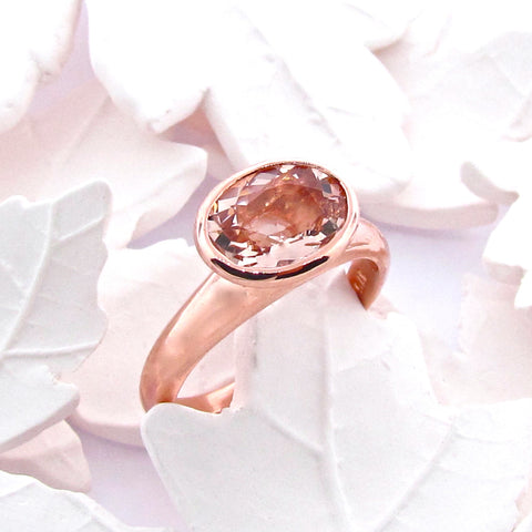 9ct  Rose Gold and Morganite Small 'Simplicity' ring