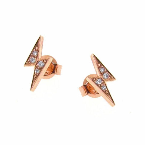 rose gold diamond lightning bolt Studs