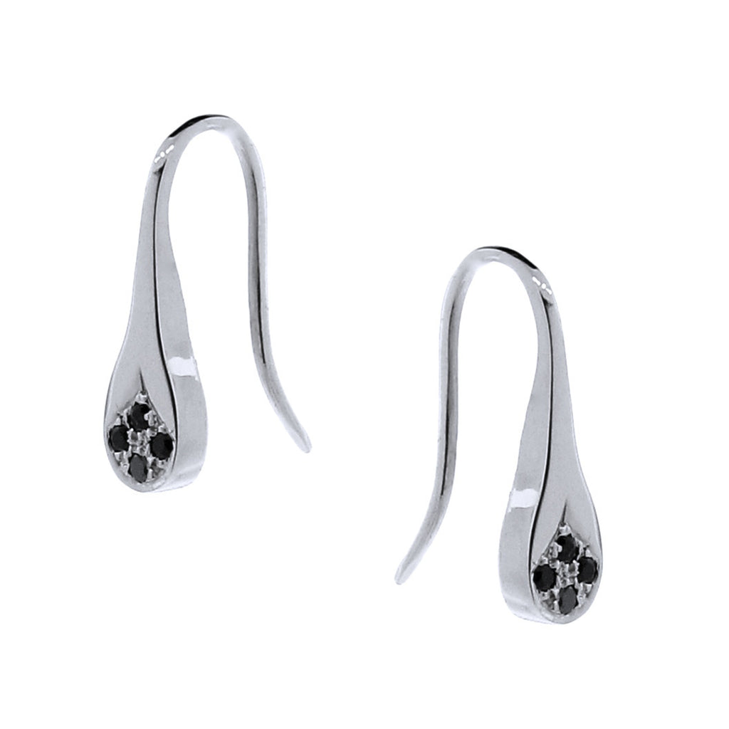 White Gold Black Spinel Flat Droplet earrings