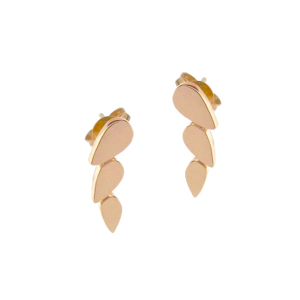 rose gold chasing droplets studs