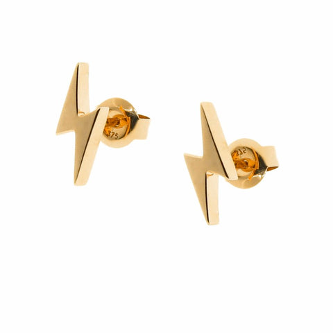 yellow gold lightning bolt studs