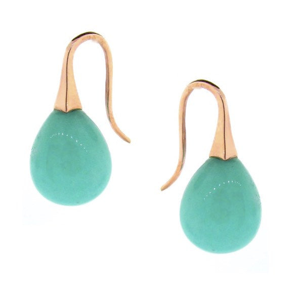 Rose Gold large Amazonite  'ShortDrop' earrings