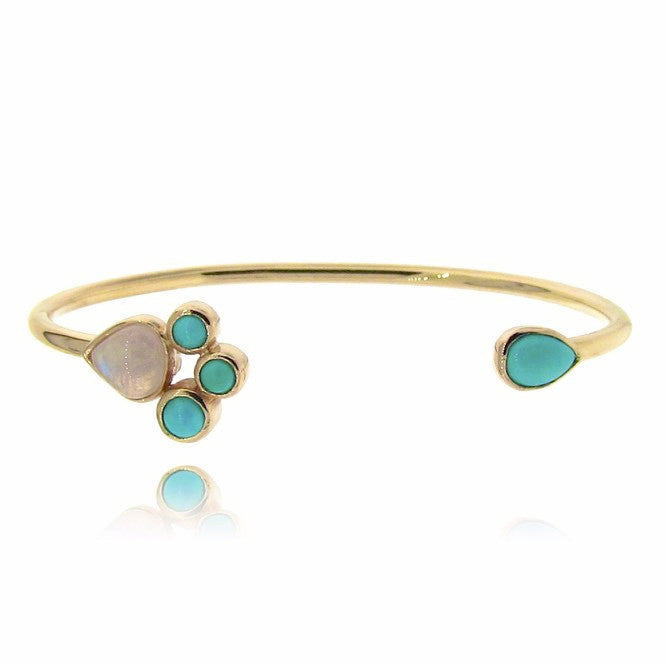 Yellow Gold Turquoise & Moonstone Open cuff bangle