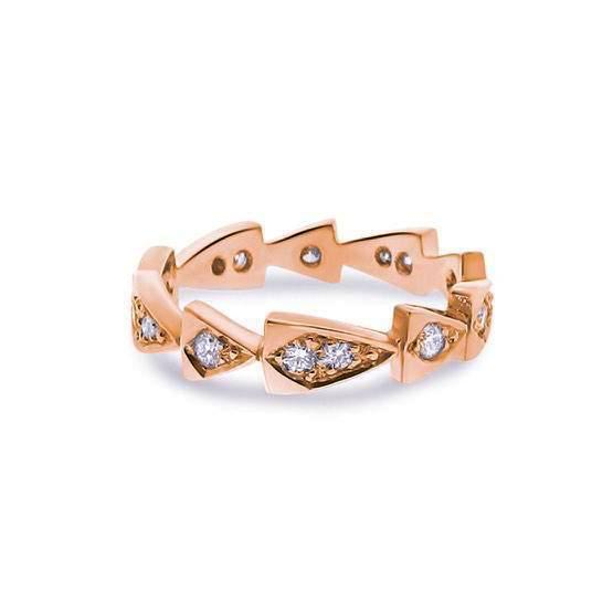 rose gold diamond chasing arrows stackable band