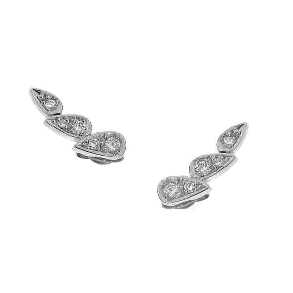 white gold diamond chasing droplets studs