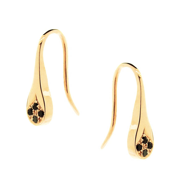 Yellow Gold Black Spinel Flat Droplet earrings