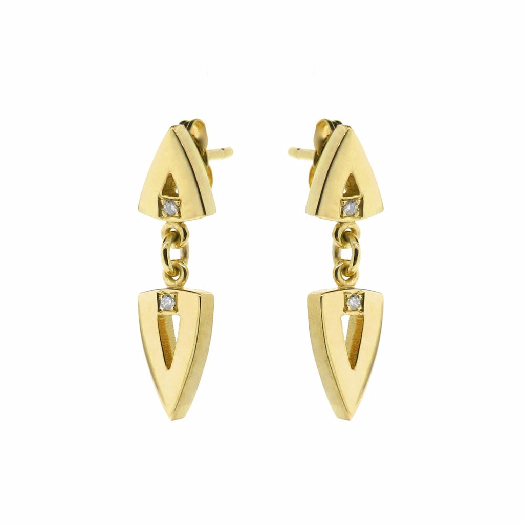 yellow gold diamond double arrow head earrings