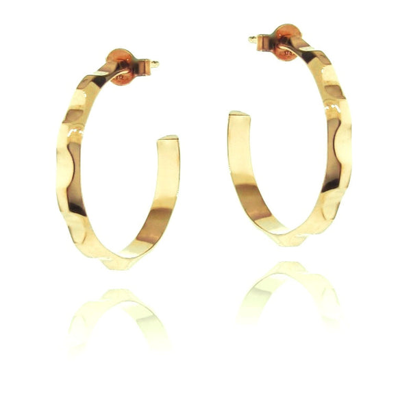 Solid Yellow Gold Find your Groove Hoop Earrings