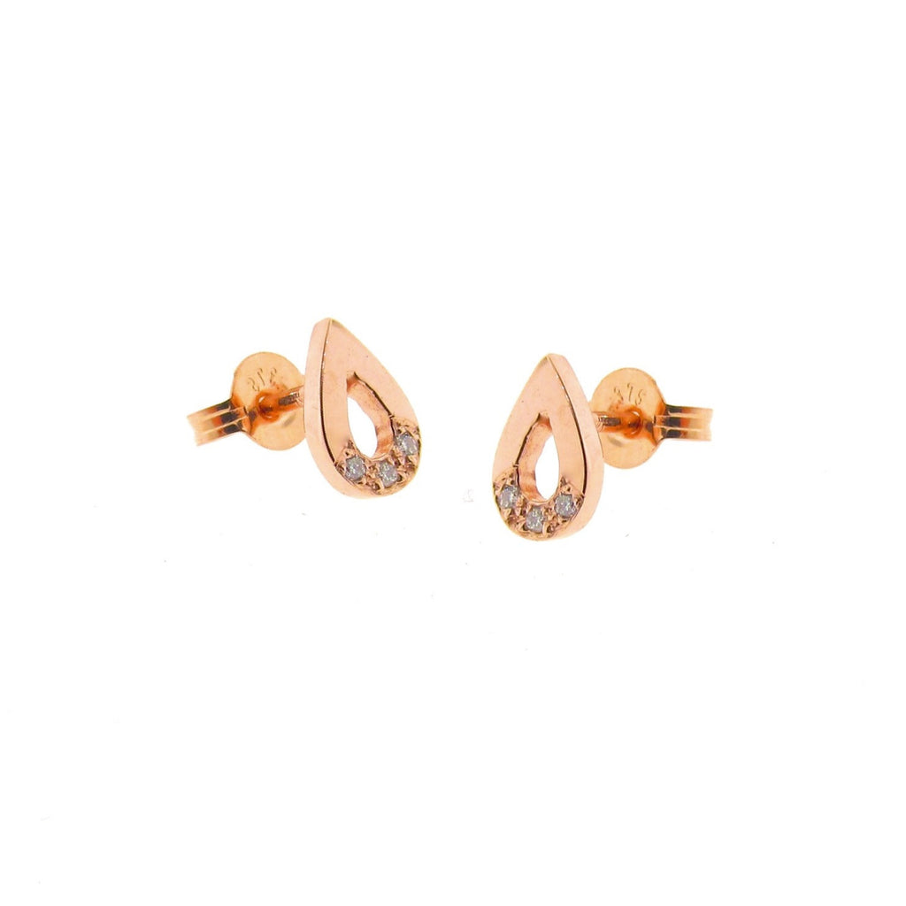 Rose Gold Diamond Travelling Warrior Drop stud