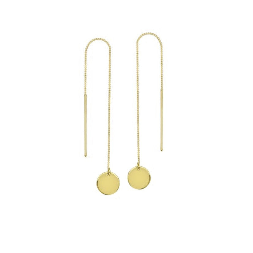 yellow gold disc thread through earrings