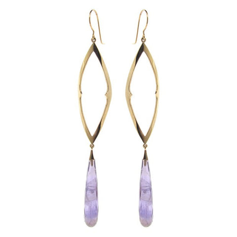 yellow gold amethyst cocktail earrings