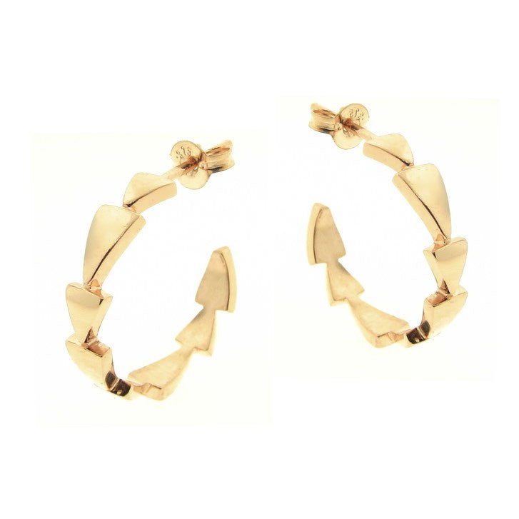 Yellow Gold Chasing Arrows Hoop Earrings