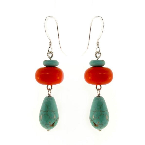 Dark Orange & Blue Magnesite drop earrings