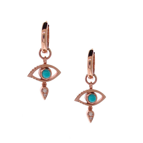 Rose Gold Turquoise Diamond Evil Eye Huggie Charm