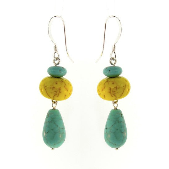 Yellow & Blue Magnesite drop earrings
