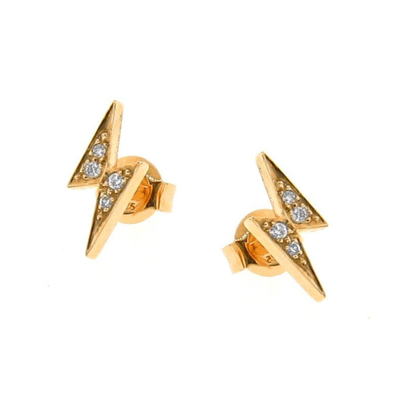 yellow gold diamond lightning bolt Studs