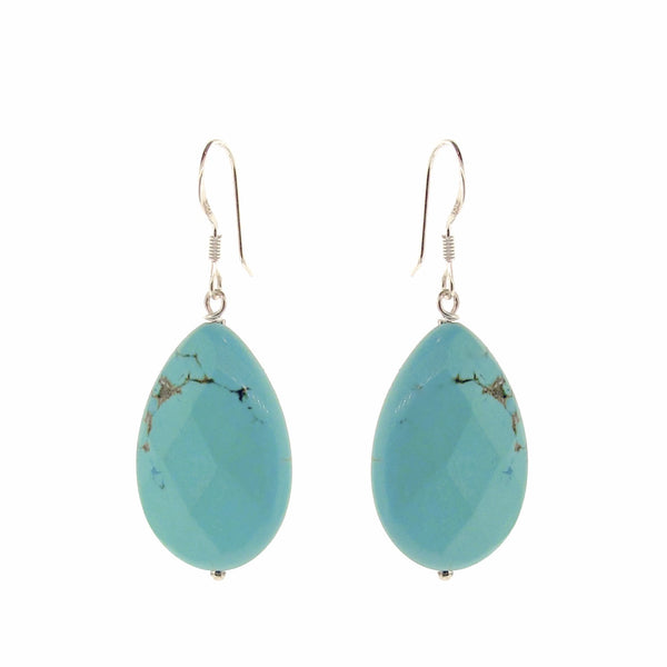 Blue Magnesite faceted Flat Drop earrings
