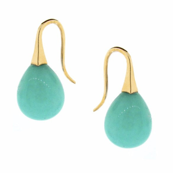Yellow Gold large Amazonite  'ShortDrop' earrings