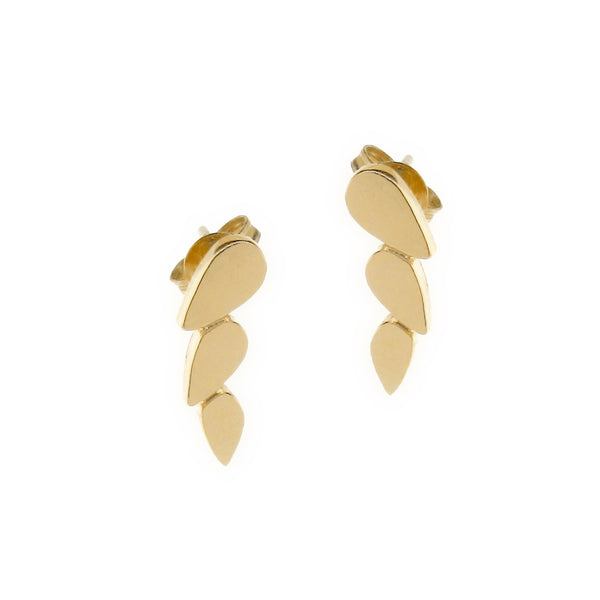 yellow gold chasing droplets studs