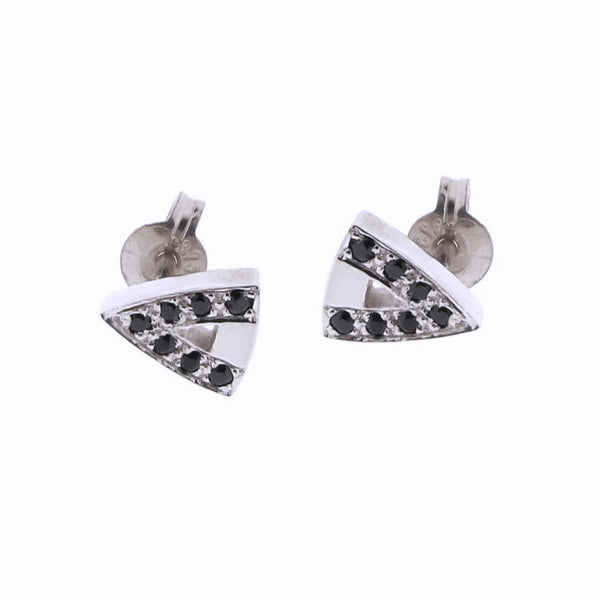 white gold black Diamond or Spinel arrow head studs
