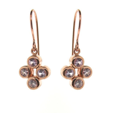 Rose Gold Pink Sapphire Quartette Bubble Earrings