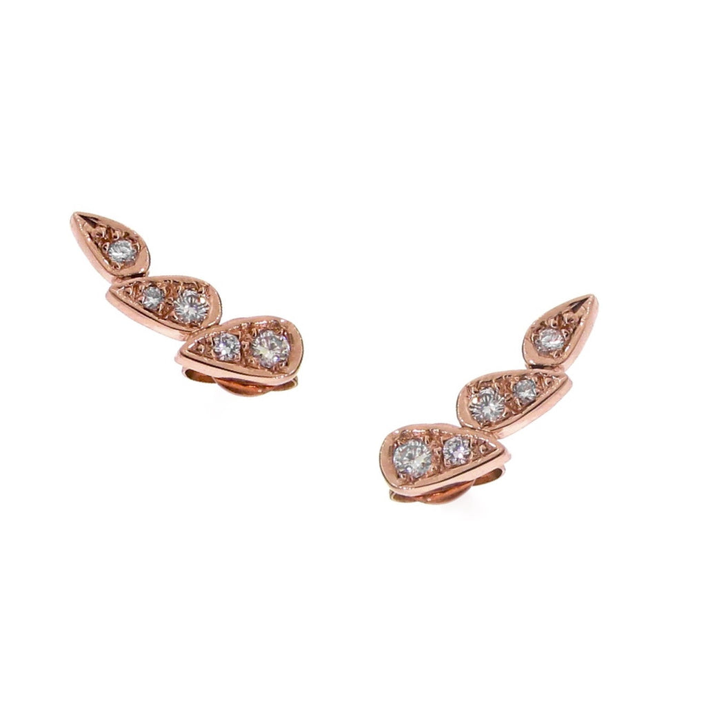 rose gold diamond chasing droplets studs