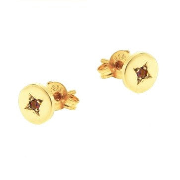 Yellow Gold Ruby 'Eclipse' Stud Earrings