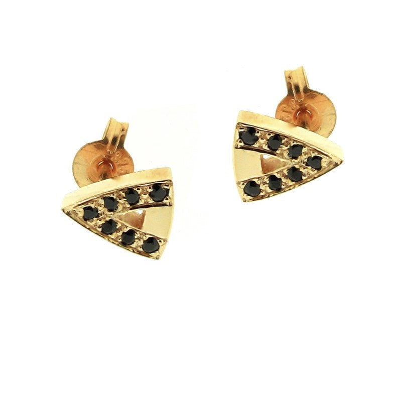 yellow gold black Diamond or Spinel  arrow head studs