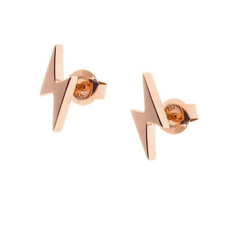 rose gold lightning bolt Studs