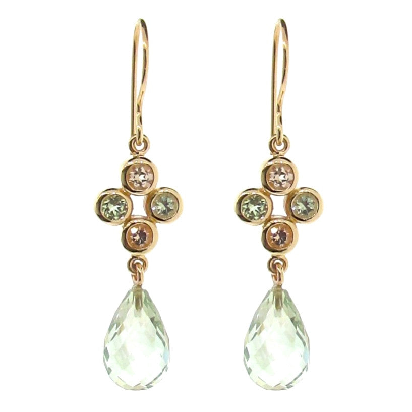Yellow Gold Quartette Bubble Drop Earrings