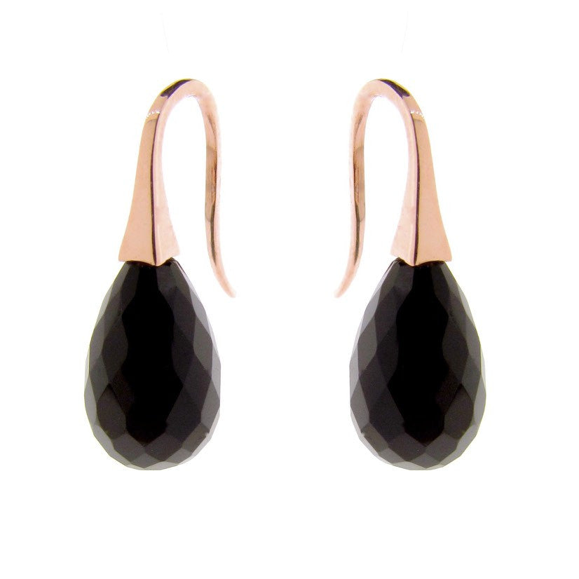 Rose Gold Onyx 'ShortDrop' earrings