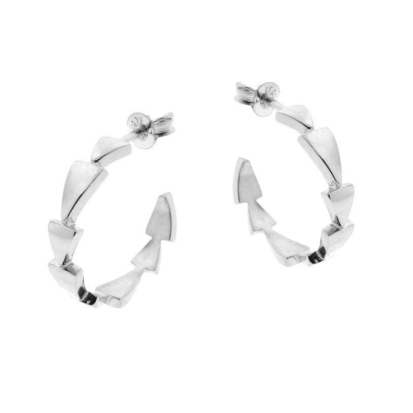 White Gold Chasing Arrows Hoop Earrings
