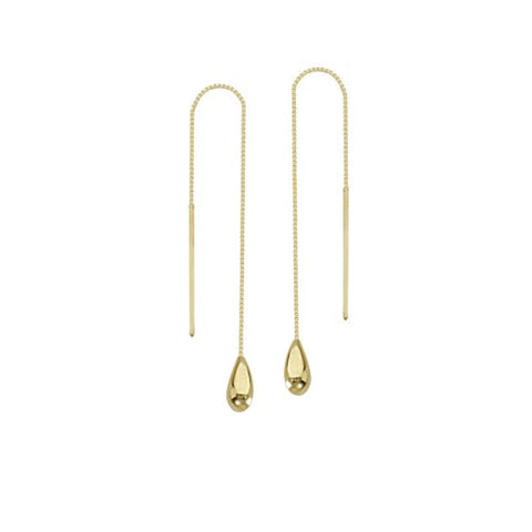 yellow gold drop thread through earrings