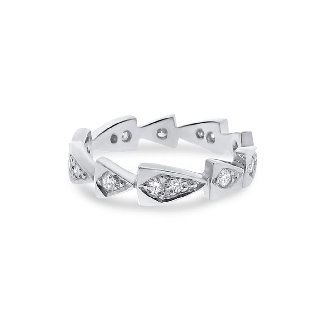 white gold diamond chasing arrows stackable band