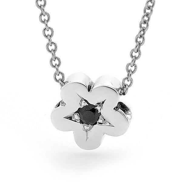 Sterling Silver 'Baby Blossom' Pendant set with a Black Spinel
