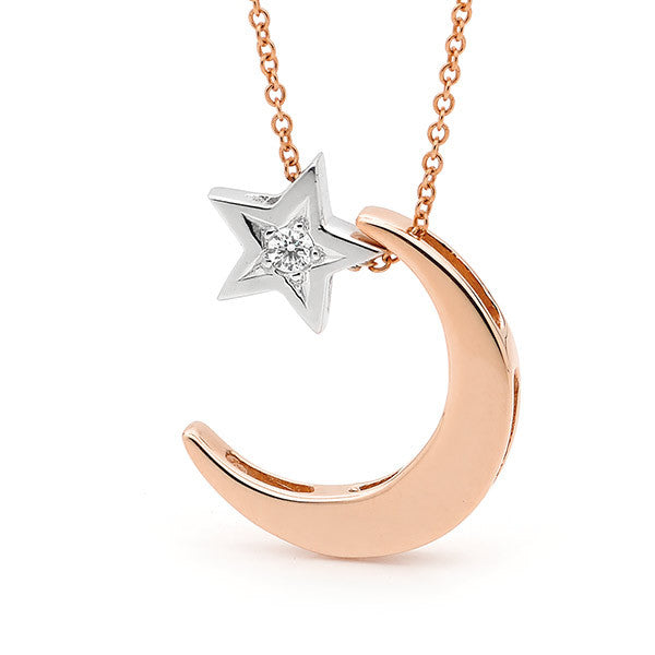 Rose Gold, White Gold Diamond 'Moon' & Star' Necklace