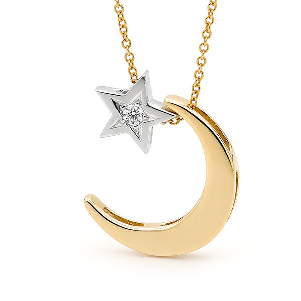 White & Yellow Gold Diamond 'Moon & Star' Necklace