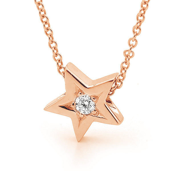 Rose Gold Diamond Baby Star Pendant